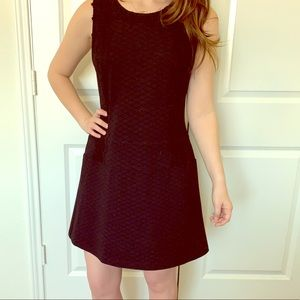 Black pattern dress with lace detail
